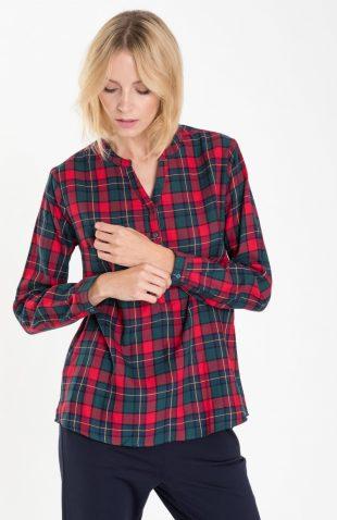 Bawełniana bluzka casual w kratę czerwona