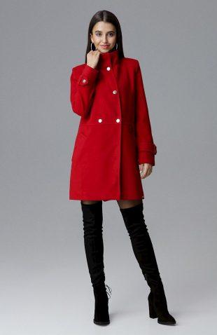 Klasyczny dwurzędowy płaszcz odcinany w pasie czerwony