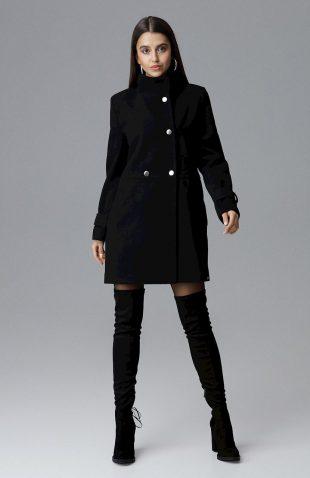 Klasyczny dwurzędowy płaszcz odcinany w pasie czarny