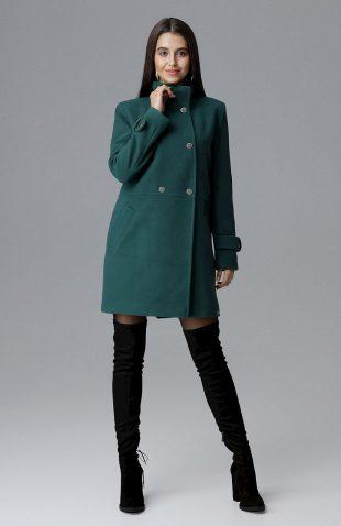 Klasyczny dwurzędowy płaszcz odcinany w pasie zielony