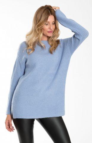 Luźny ciepły sweter o dłuższym kroju niebieski