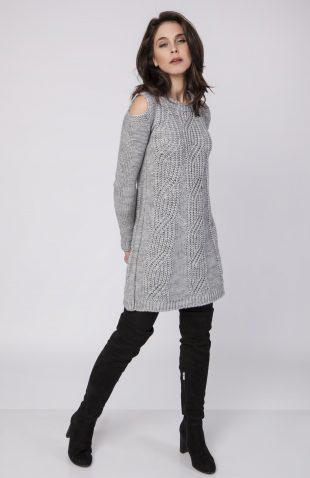 Ciepła swetrowa sukienka z wyciętymi ramionami