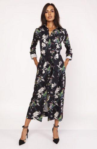 Elegancka sukienka maxi z nadrukiem zapinana na napy