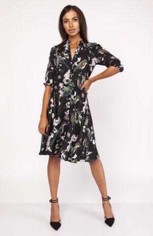 Elegancka sukienka koszulowa do kolan rozkloszowana