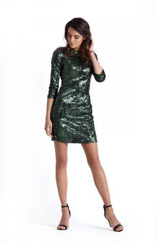 Elegancka sukienka wieczorowa z cekinami zielona