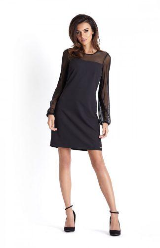 Trapezowa sukienka wizytowa nad kolano czarna