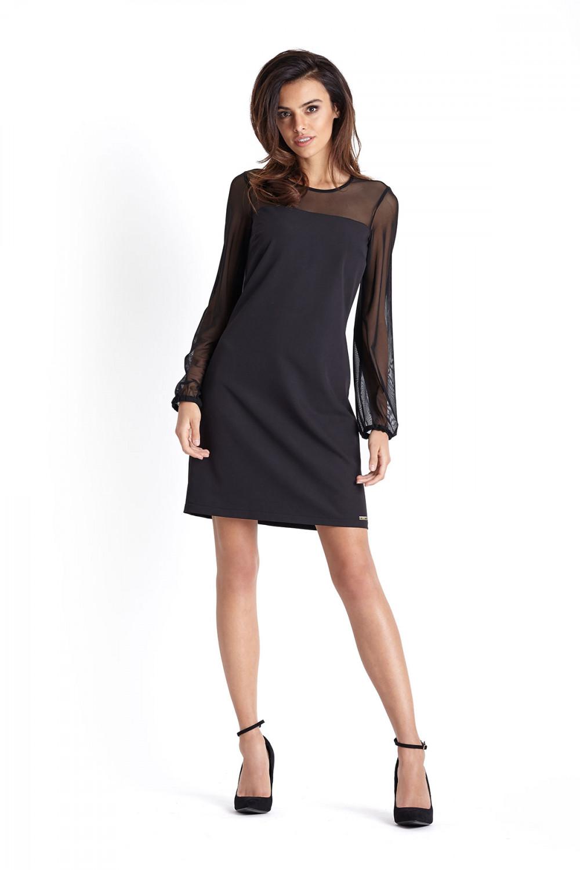 f7dea2cb96345f Trapezowa sukienka wizytowa nad kolano czarna - wysyłka już od 5,99 zł