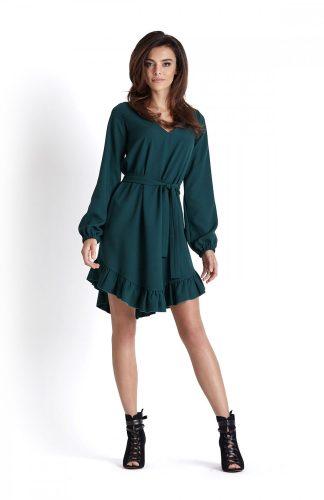 Sukienka o luźnym kroju z falbaną zielona