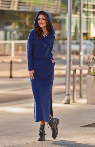 Komfortowa dresowa sukienka maxi z kapturem