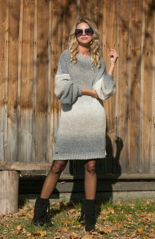 Ciepła sukienka swetrowa z delikatnej przędzy