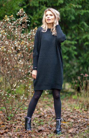 Ciepła swetrowa sukienka do kolan z wełną