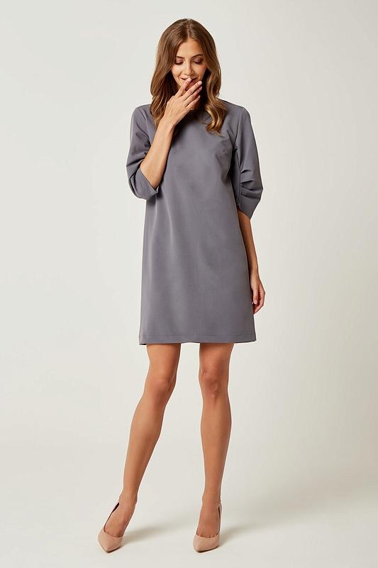 03080b5e0d Prosta klasyczna sukienka typu A do kolan szara - wysyłka już od 5