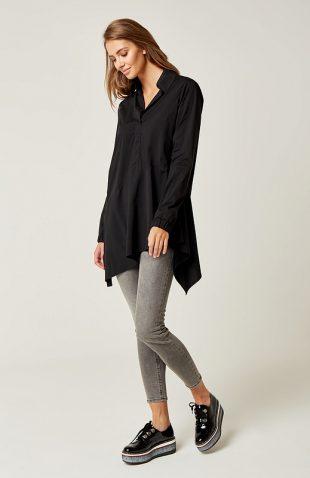 Długa bawełniana koszula asymetryczna czarna