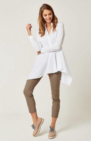 Długa bawełniana koszula asymetryczna biała