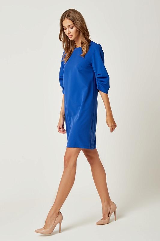 991579f039 Prosta klasyczna sukienka typu A do kolan niebieska - wysyłka od 5