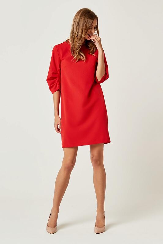57b639f75c Prosta klasyczna sukienka typu A do kolan czerwona - wysyłka od 5