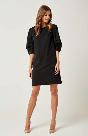 Prosta klasyczna sukienka typu A do kolan czarna