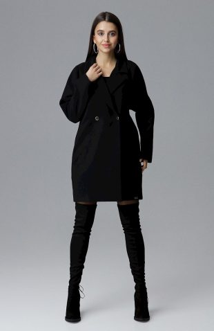 Elegancki dwurzędowy płaszcz pudełkowy czarny