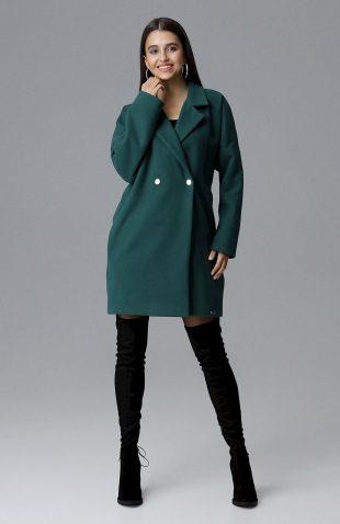 Elegancki dwurzędowy płaszcz pudełkowy zielony