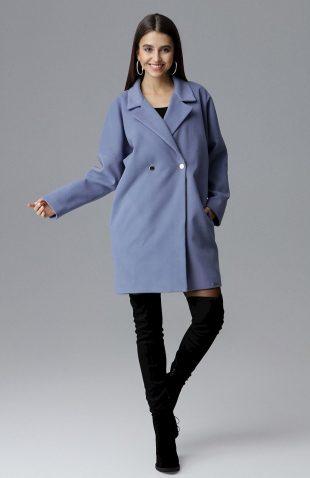 Elegancki dwurzędowy płaszcz pudełkowy niebieski