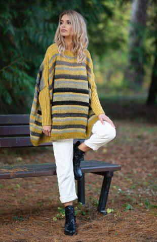 Ciepły długi sweter z wełną w pasy