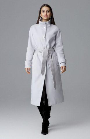 Elegancki ciepły długi płaszcz na podszewce szary