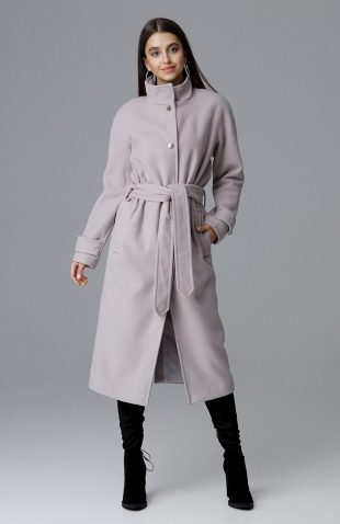 Elegancki ciepły długi płaszcz na podszewce beżowy