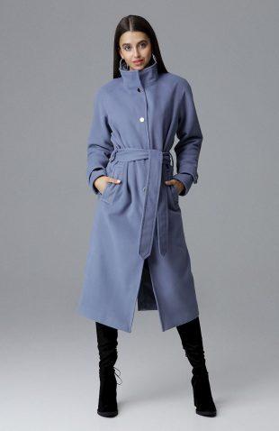 Elegancki ciepły długi płaszcz na podszewce niebieski
