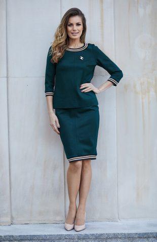 Elegancki komplet bluzka i spódnica butelkowa zieleń