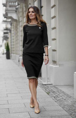 Elegancki komplet bluzka i spódnica czarny