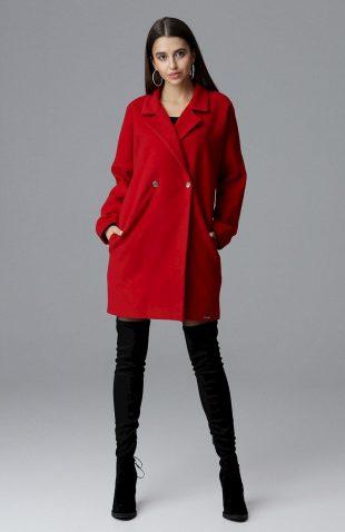 Elegancki dwurzędowy płaszcz pudełkowy czerwony