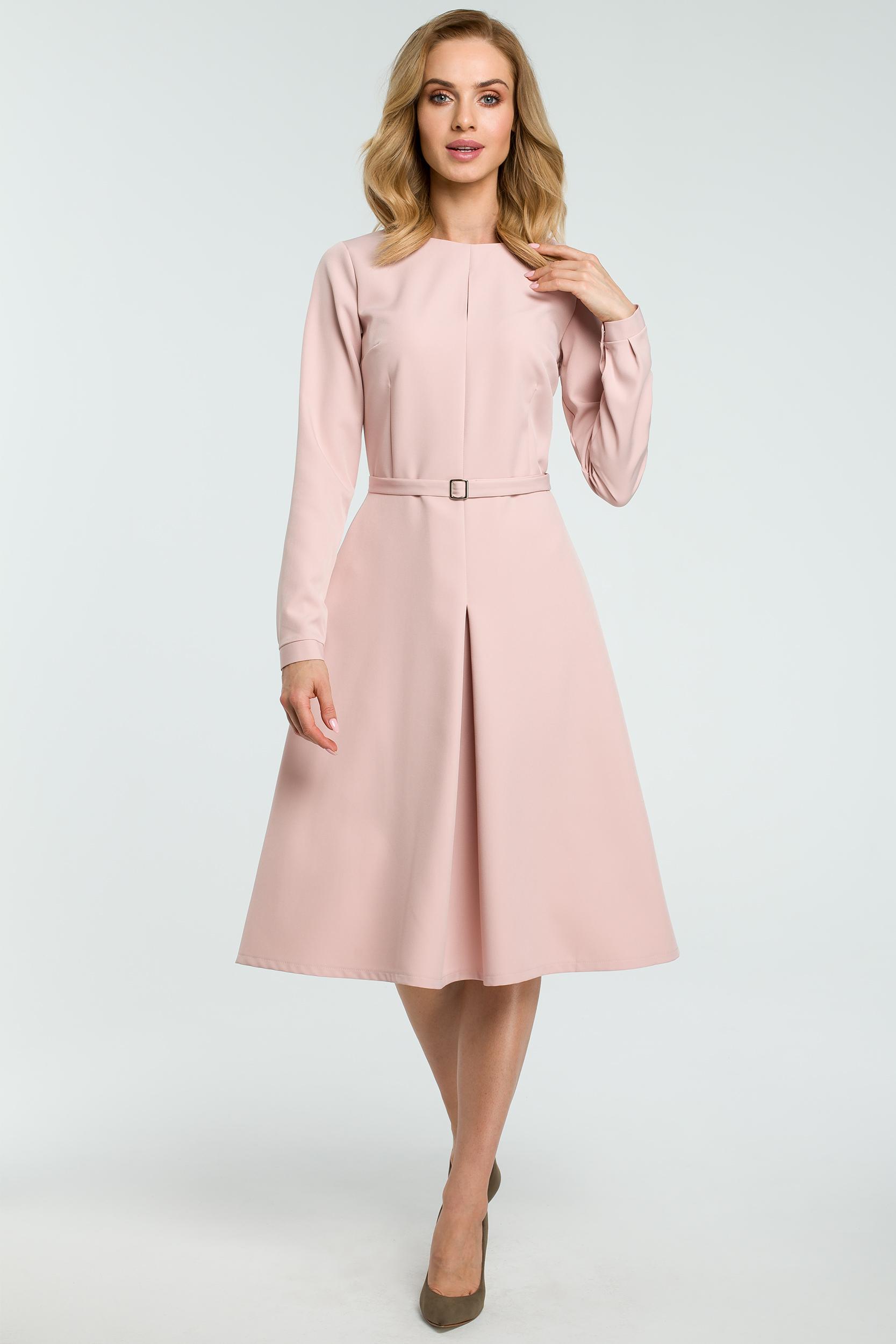 f410ba3e7d Elegancka rozkloszowana sukienka z paskiem różowa - kurier od 5