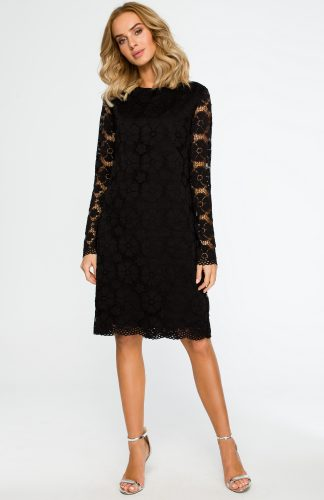 Trapezowa sukienka z koronki przed kolano czarna
