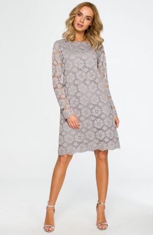 Trapezowa sukienka z koronki przed kolano szara