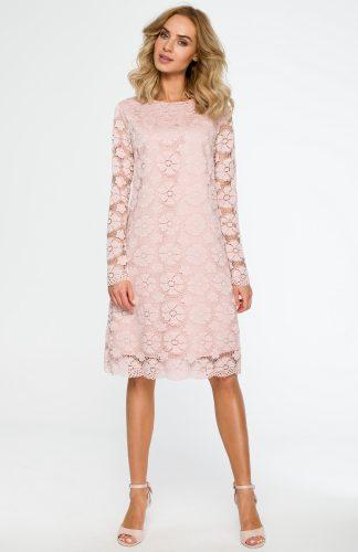 Trapezowa sukienka z koronki przed kolano różowa