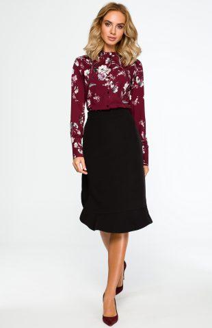 Elegancka spódnica ołówkowa z falbaną czarna