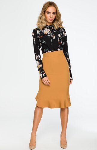 Elegancka spódnica ołówkowa z falbaną cynamonowa