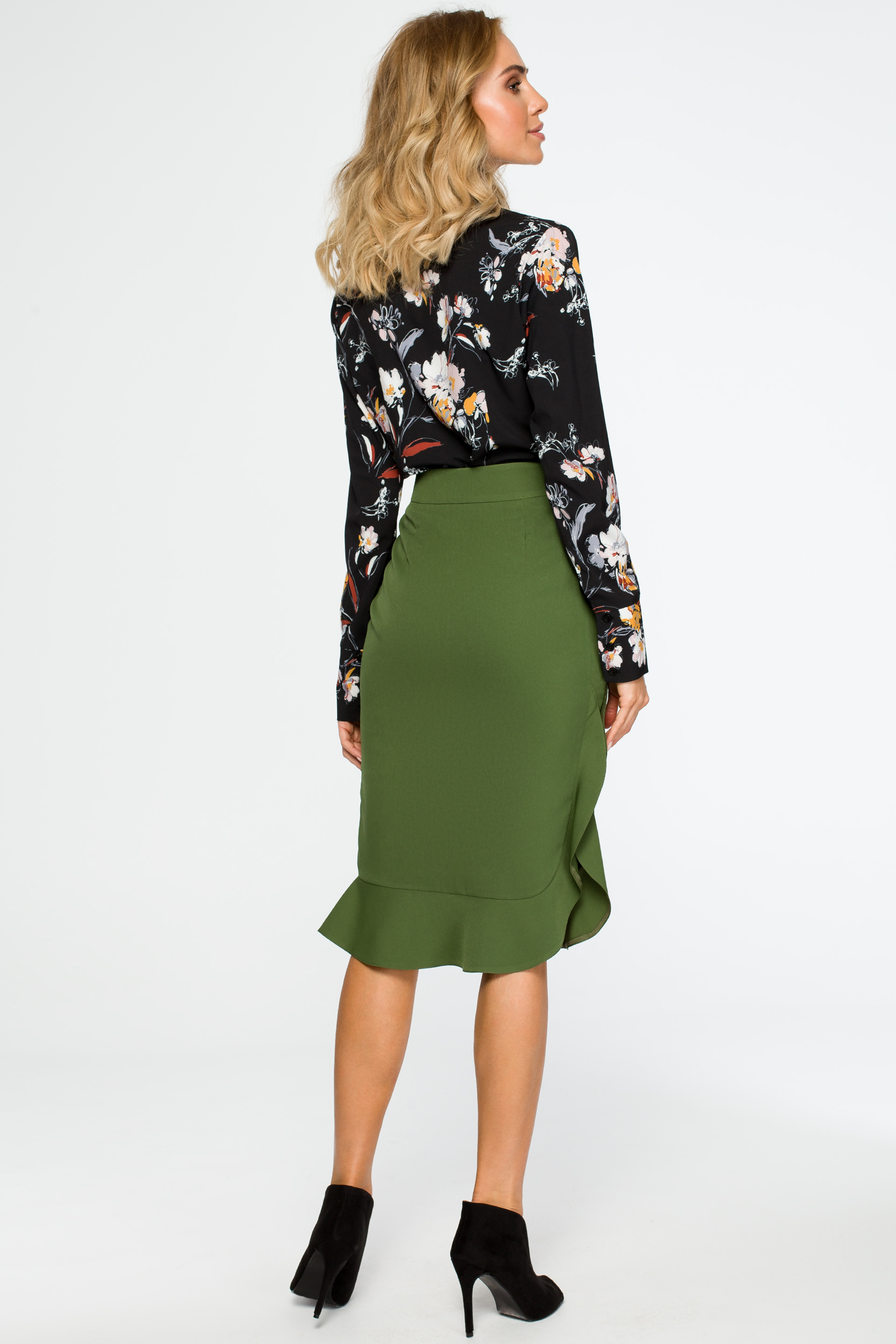 Elegancka spódnica ołówkowa z falbaną zielona