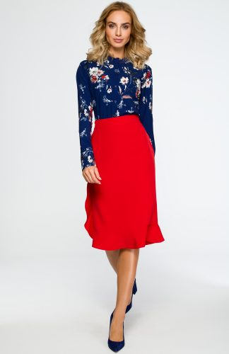 Elegancka spódnica ołówkowa z falbaną czerwona