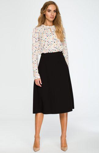 Elegancka rozkloszowana spódnica midi czarna