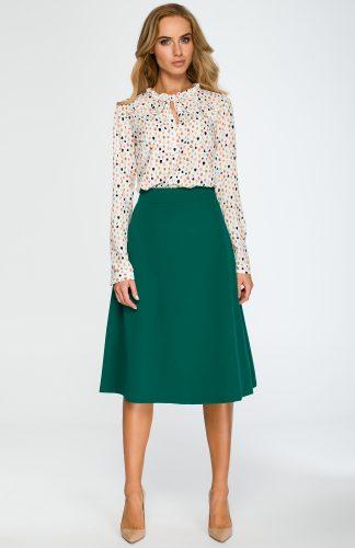 Elegancka rozkloszowana spódnica midi zielona