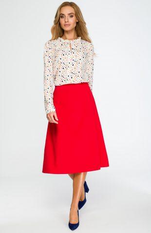 Elegancka rozkloszowana spódnica midi czerwona