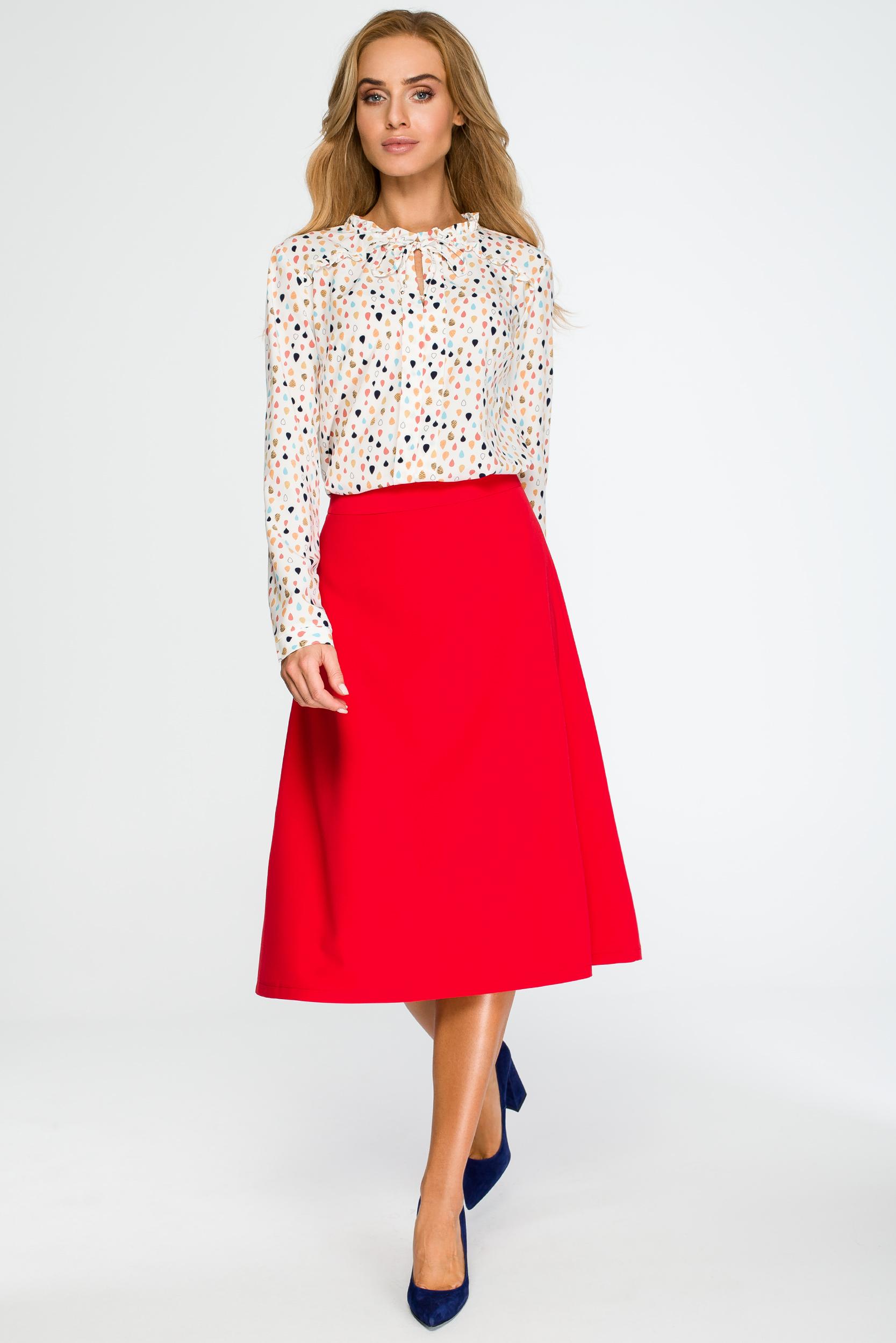 f5dd1c109f Elegancka rozkloszowana spódnica midi czerwona - wysyłka już od 5
