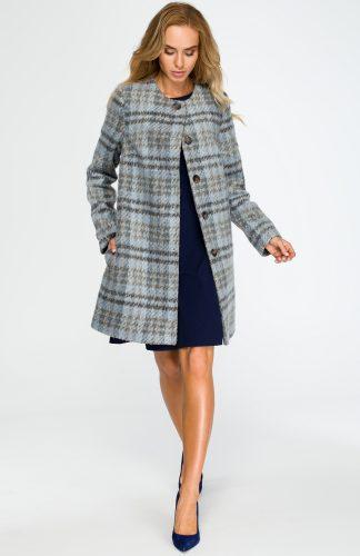 Elegancki trapezowy płaszcz w niebieską kratę