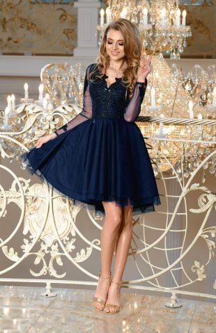 Sukienka balowa z tiulem i z haftami granatowa