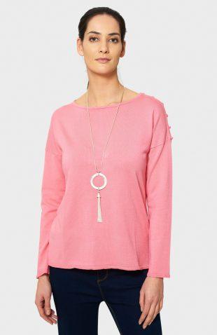 Klasyczny sweter z rozcięciami różowy