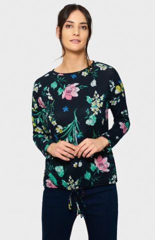 Luźny sweter z troczkiem w kwiatowy wzór