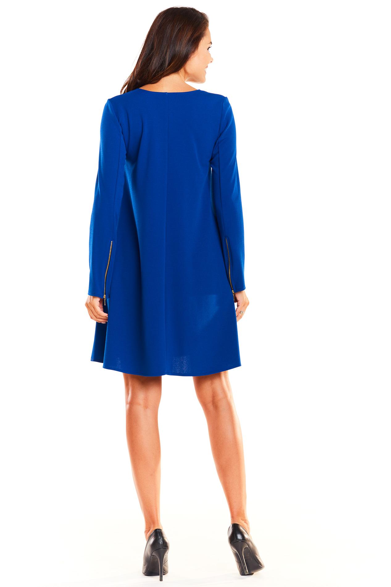 c9c03c4443 Elegancka rozkloszowana sukienka fason A niebieska - kurier od 5