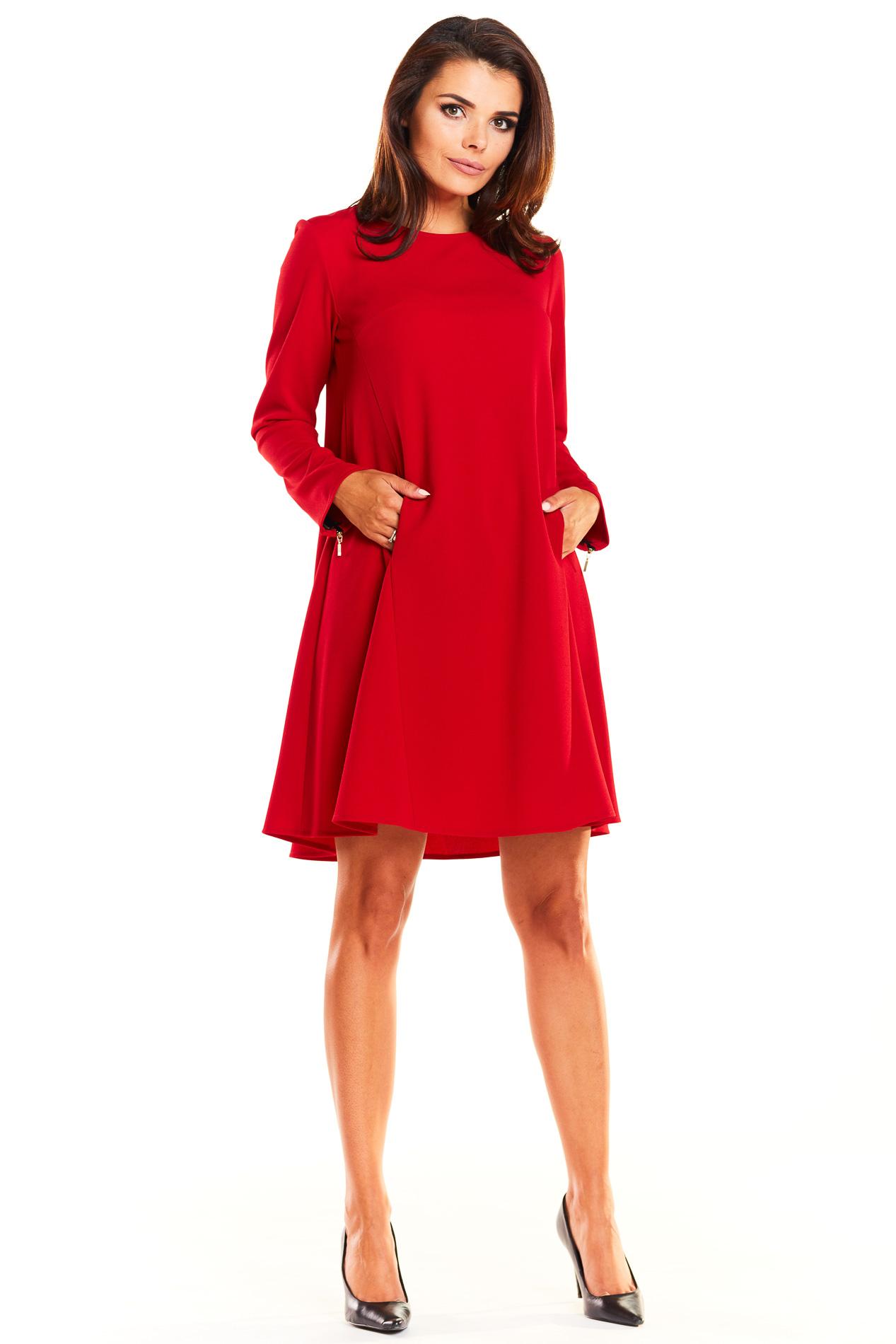 e71d3c46ed Elegancka rozkloszowana sukienka fason A czerwona - kurier od 5