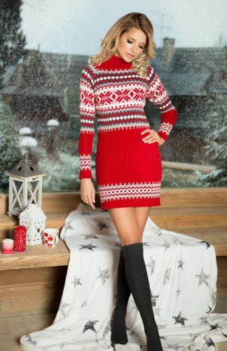 Ciepła sukienka mini w norweskie wzory